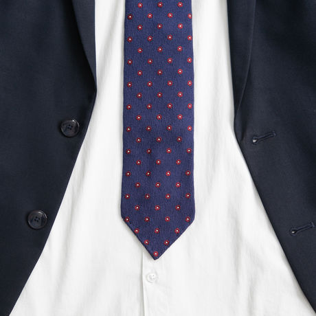 Royal Blue with dots Zampa di Gallina 100% Wool necktie