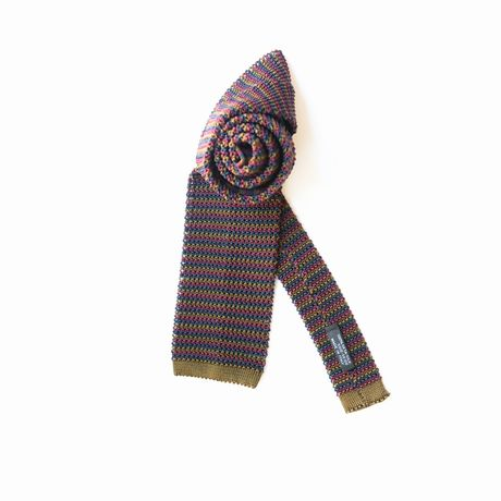 Zampa di Gallina 100% silk knitted necktie with Brown, Pink and Blue Stripes
