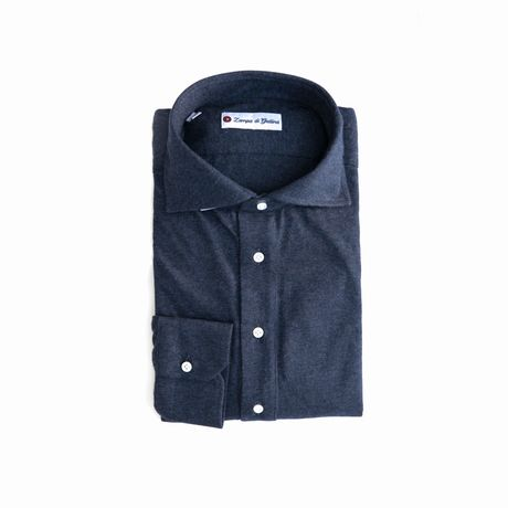 Polo camicia blu di Prussia in cottone e cashmere stretch slim fit