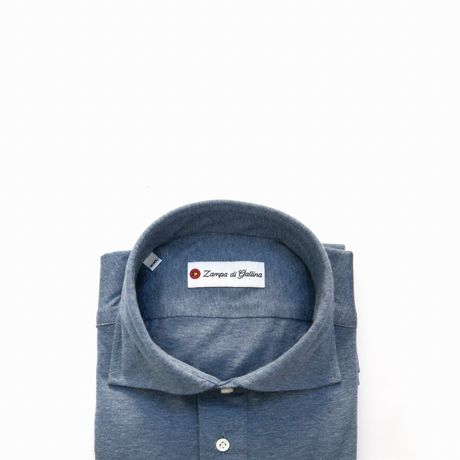 Slim fit Long Sleeve Middle Blue Polo Shirt in Cotton and Cashmere