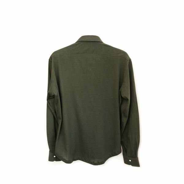 Slim fit Long Sleeve Green Polo Shirt in Cotton and Cashmere