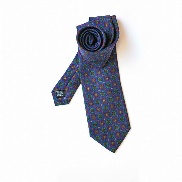 Blue with Green Ancient Madder patterns Calabrese 1924 necktie