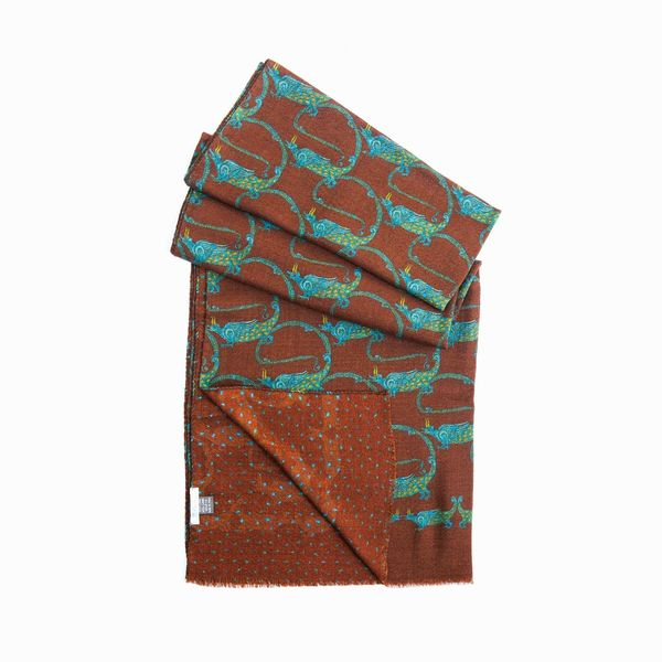 Brown with patterns Calabrese 1924 Merino Wool Scarf