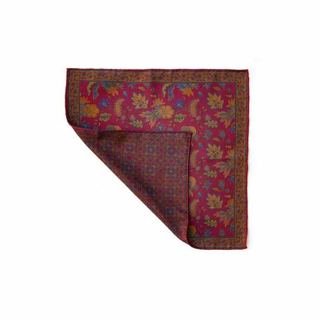 Double-sided burgundy with flower pattern Calabrese 1924 hand-tipped Pocket square