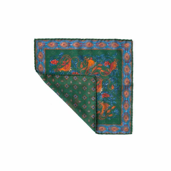 Double-sided green with patterns Calabrese 1924 hand-tipped Pocket square