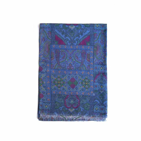 Blue with oriental patterns Calabrese 1924 Merino Wool Scarf