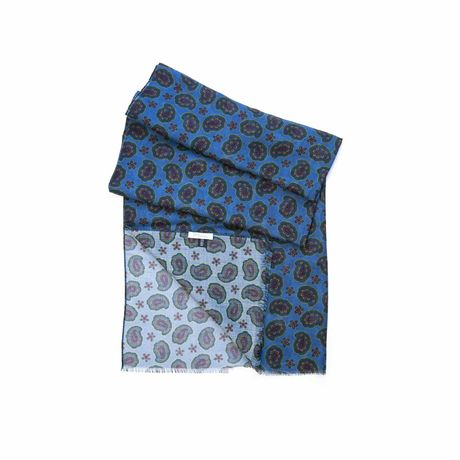 Blue with paisley patterns Calabrese 1924 Merino Wool Scarf