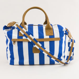 Lipari Calabrese 1924 Travel Bag with blue stripes