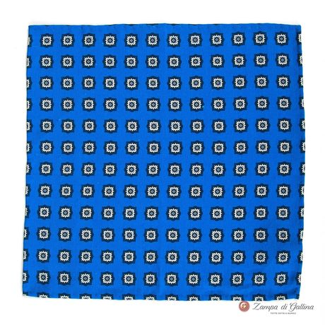 Blue Pocket Square with geometrical patterns Francesco Marino for Zampa di Gallina
