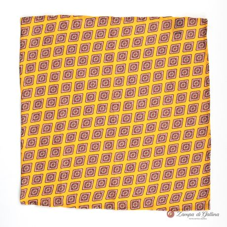 Mustard Pocket Square with geometrical patterns Francesco Marino for Zampa di Gallina