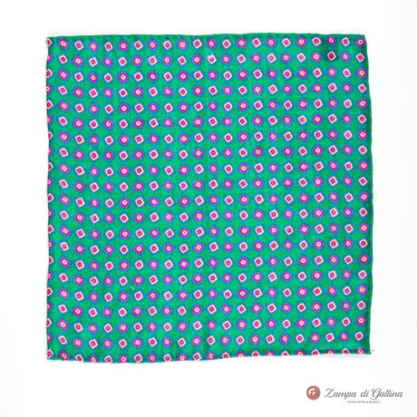 Green Pocket Square with vintage patterns Francesco Marino for Zampa di Gallina