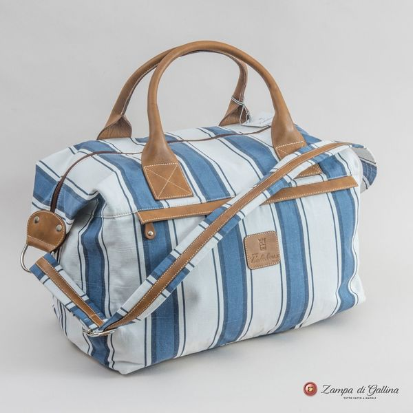 White with Blue Stripes Lipari Calabrese 1924 Travel Bag
