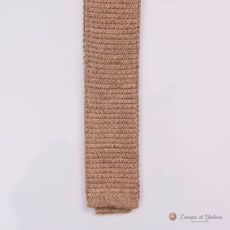 Beige Calabrese 1924 Linen and silk knitted necktie