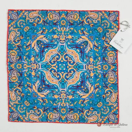 Blue with Paisley Patterns Hand-tipped Pocket Square 100% Silk