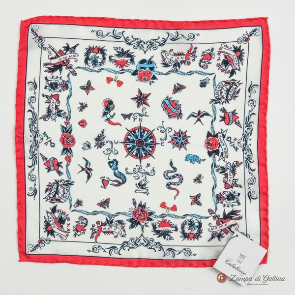 White with Tatoo Patterns Hand-tipped Pocket Square 100% Silk
