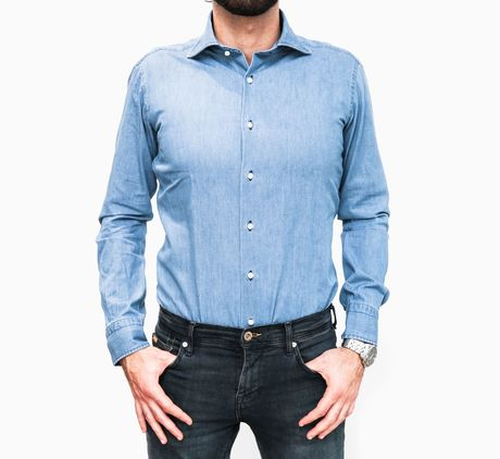 Camicia Zampa di Gallina denim Slim Fit