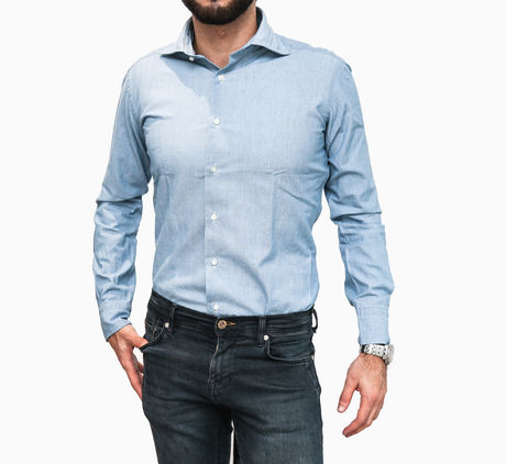 Chemise Zampa di Gallina bleu chambray Slim Fit