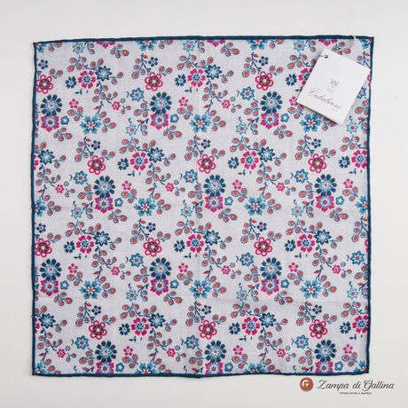 Hand-tipped pocket square with flowers patterns 100% linen