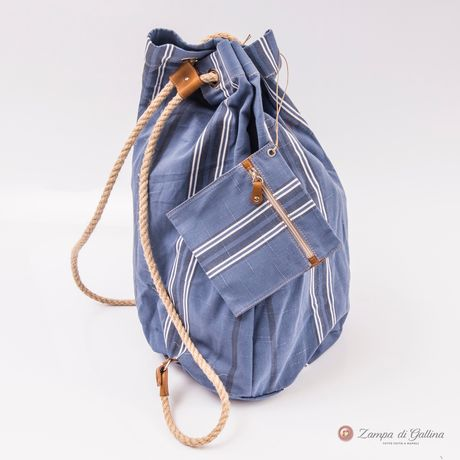Denim blue with white stripes Vietri Calabrese 1924 Seabag