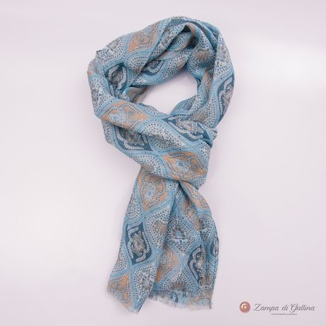 Blue with beige Patterns Calabrese 1924 Linen Scarf