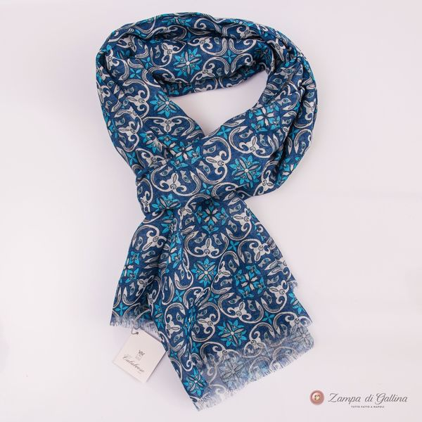 Blue with Patterns Calabrese 1924 Linen Scarf