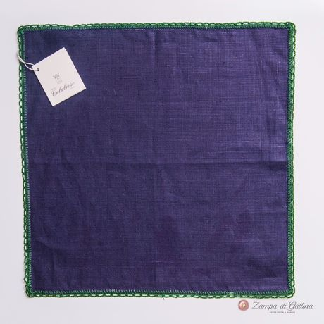 Dark blue with hand-tipped serrated welt pocket square 100% linen