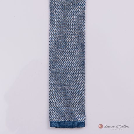 Heather blue Calabrese 1924 Linen and silk Knitted necktie
