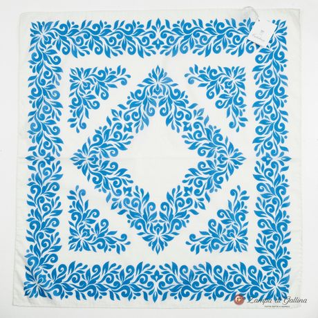 White with Blue Patterns Cotton and Silk Scarf