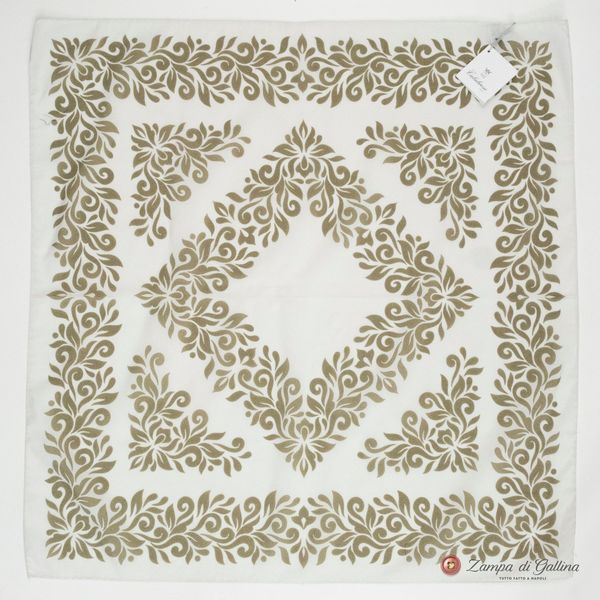 White with Beige Patterns Cotton and Silk Scarf