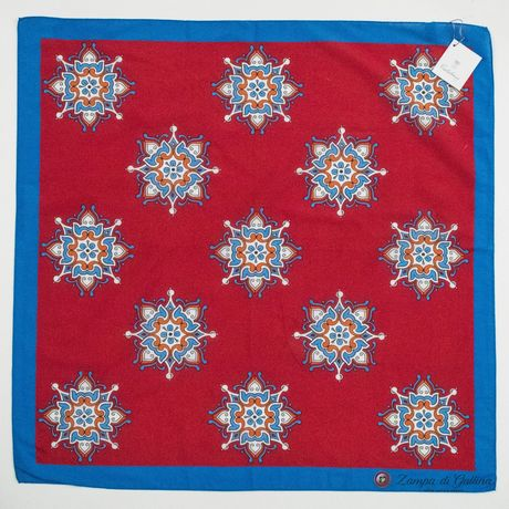 Red with Patterns Cotton and Silk Scarf