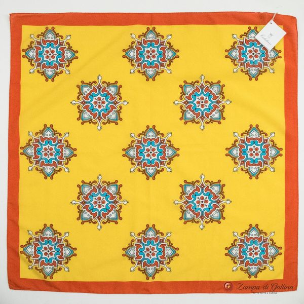 Cotton and Silk Yellow Scarf with Patterns