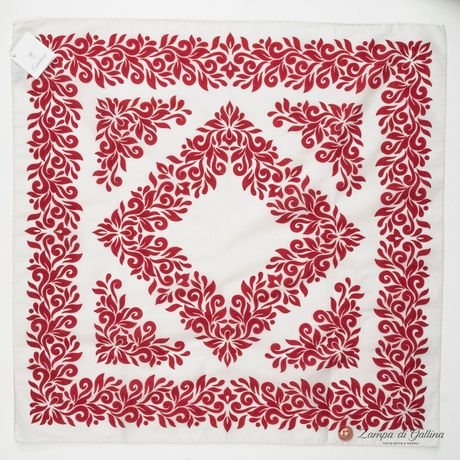 White with Red Patterns Cotton and Silk Scarf
