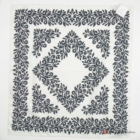 White with Marine Blue Patterns Cotton and Silk Scarf