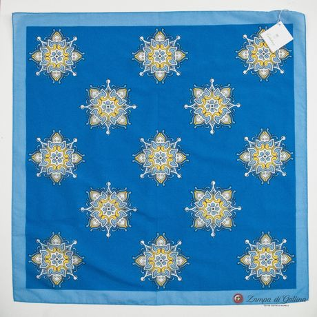 Cotton and Silk Blue Scarf with Patterns