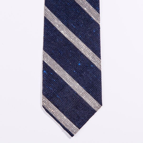 Unlined Blue and White Shantung Grenadine Francesco Marino Napoli Repp Tie