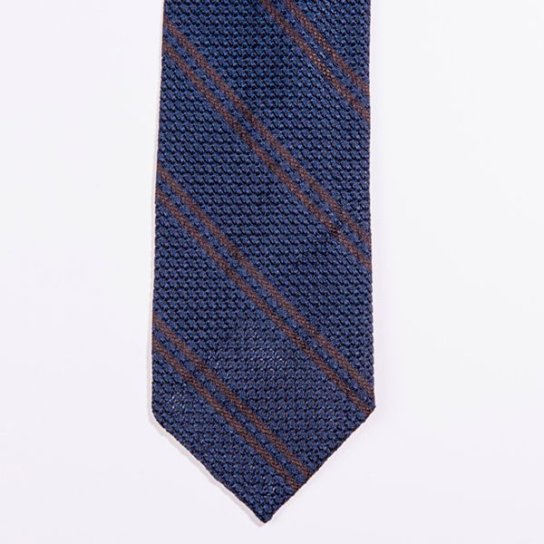 Unlined Blue and brown stripped Large Grenadine Francesco Marino Napoli Tie