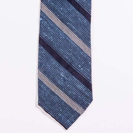 Unlined Light Blue Shantung Grenadine Francesco Marino Napoli Repp Tie