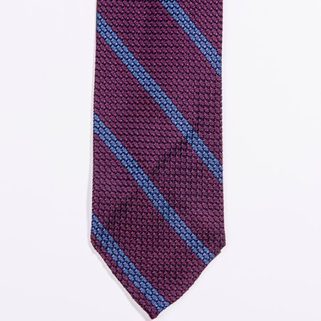 Unlined Burgundy Grenadine Francesco Marino Napoli Repp Tie