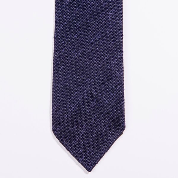 Unlined Denim Blue Shantung Grenadine Francesco Marino Napoli Repp Tie