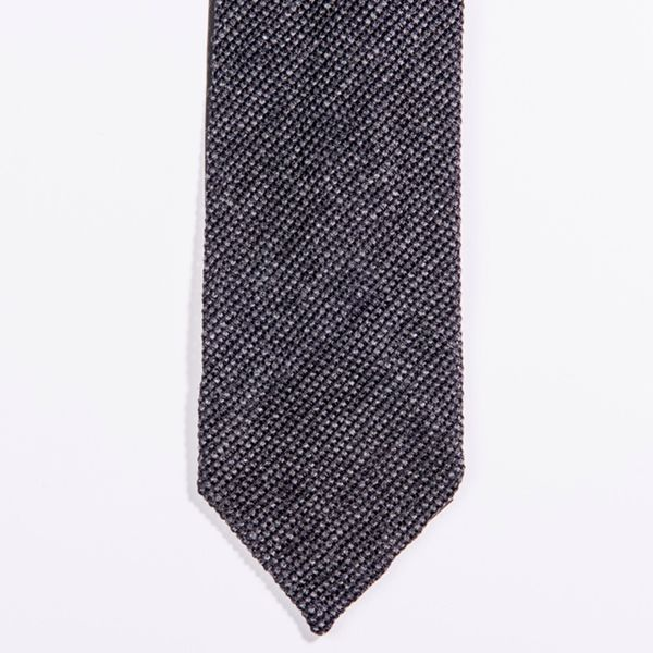 Unlined Grey Shantung Grenadine Francesco Marino Napoli Repp Tie