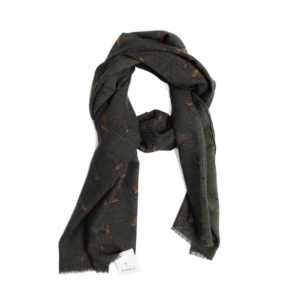 Green with hunting patterns Calabrese 1924 Merino Wool Scarf