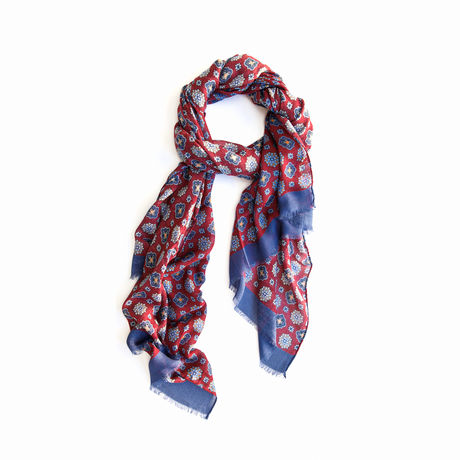 Red and Blue Modal and Cashmere Calabrese 1924 Scarf