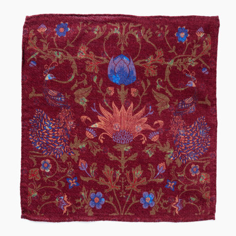 Double-sided Burgundy with flower patterns Calabrese 1924 hand-tipped Pocket square