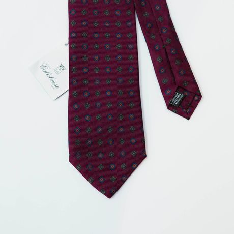 Burgundy with Ancient Madder patterns Calabrese 1924 necktie