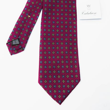 Wine with Ancient Madder patterns Calabrese 1924 necktie
