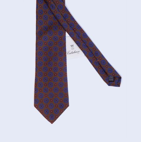Brown with Ancient Madder patterns Calabrese 1924 necktie