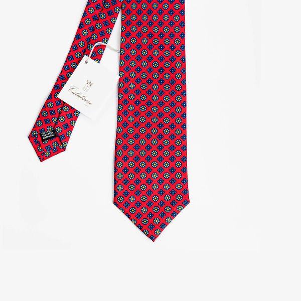 Red with Ancient Madder patterns Calabrese 1924 necktie
