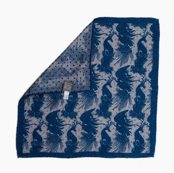 Double-sided Blue with patterns Calabrese 1924 hand-tipped Pocket square