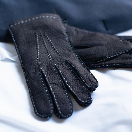 Marine Blue Genuine peccary gloves cashmere lined