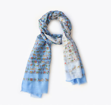Blue with Indian Patterns Calabrese 1924 Cotton Scarf
